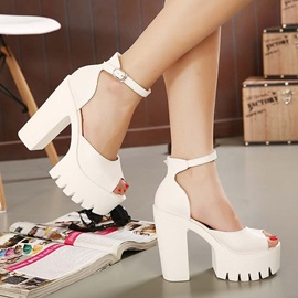 Peep-Toe Wedge Sole Chunky Heel Sandals