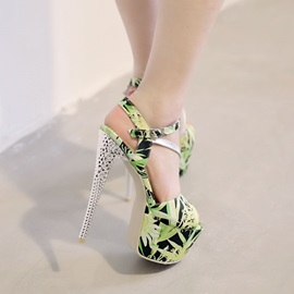 Floral Printed Open-Toe Stiletto Heel Sandals
