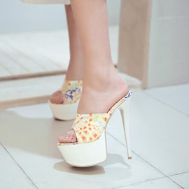 Floral Printed Peep-Toe Stiletto Heel Sandals