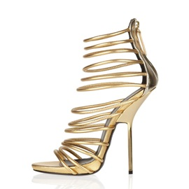 Metallic Covering Heel Stiletto Heel Sandals