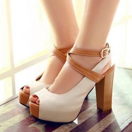 Color Block Peep-Toe Chunky Heel Sandals