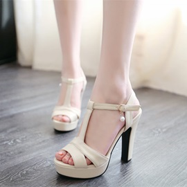 Solid Color PU T-Strap Chunky Heel Sandals