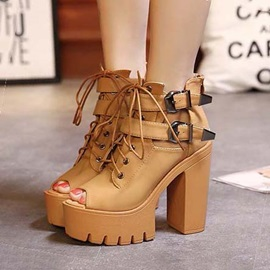 PU Peep-Toe Chunky Heel Lace-Up Sandals