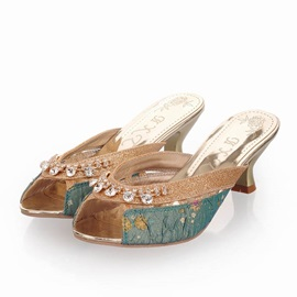 Rhinestone Peep-Toe Slip-On Sandals