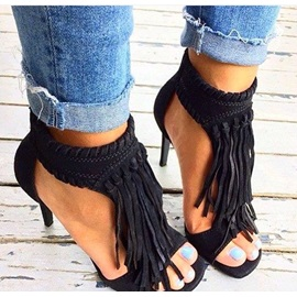 Suede Tassels Stiletto Heel Sandals