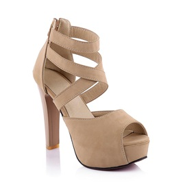 PU Peep-Toe Covering Heel Sandals