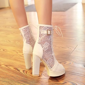 Mesh Patchwork Lace Peep-Toe Chunky Heel Sandals