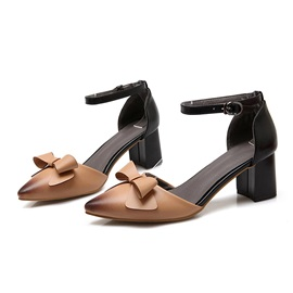Bowknots Pointed Toe Chunky Heel Sandals