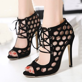 Black Peep-Toe Hollow Stiletto Heel Sandals