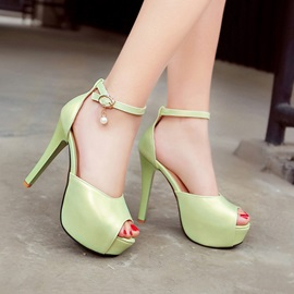 Solid Color PU Peep-Toe Stiletto Heel Sandals