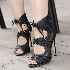 Mesh Patchwork Peep-Toe Stiletto Heel Sandals