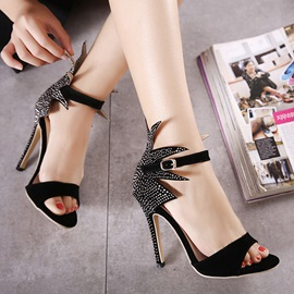 Black Studded Stiletto Heel Sandals
