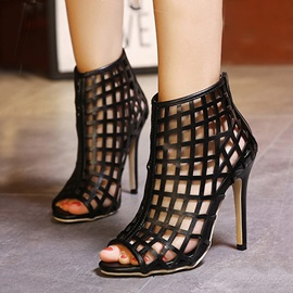 Black Peep-Toe Hollow Back Zipper Sandals