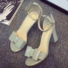 Bowknots Covering Heel Chunky Heel Sandals