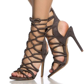 Solid Color Stiletto Heel Roman Sandals