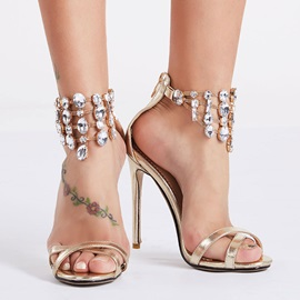Crystal Open-Toe Stiletto Heel Sandals