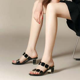Elegant Open-Toe Chunky Heel Sandals