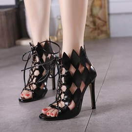 Black PU Stiletto Heel Cut-Out Sandals