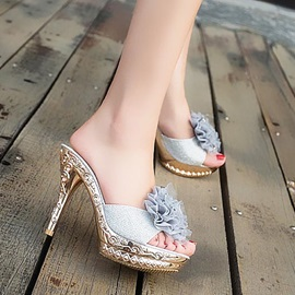 Flower Applique Slip-On Sandals