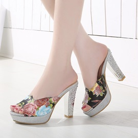 Floral Printed Peep-Toe Sandals