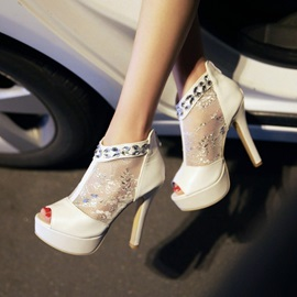 Rhinestone Lace Patchwork Pee-Toe Sandals