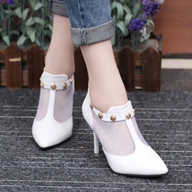 Studded Mesh Patchwork Pumps