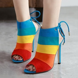 PU Color Block Peep-Toe Colorful Stiletto Heel Sandals