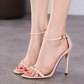 European Solid Color PU Stiletto Heel Sandals