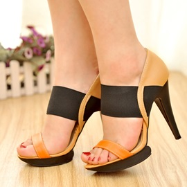 Color Block PU Platform Sandals