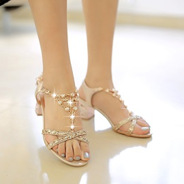 Chains & Sequins Chunky Heel Sandals