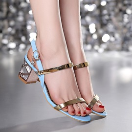 Metallic Chunky Heel Open-Toe Sandals