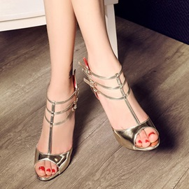Elegant Peep-Toe Stiletto Heel Sandals