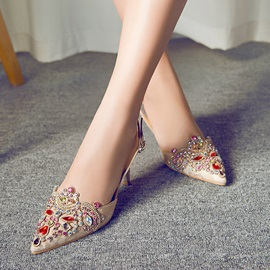 Rhinestone Lace Pointed Toe Slingback Sandals