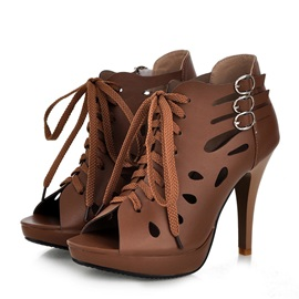 Solid Color PU Cut-Out Sandals