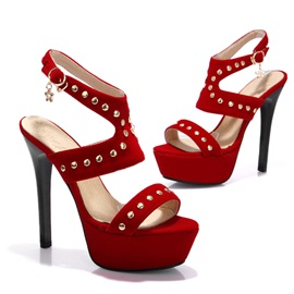 Studded Suede Stiletto Heel Sandals