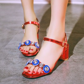 Color Block Sequins Chunky Heel Sandals