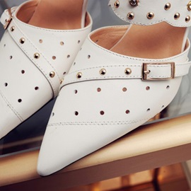 Studded PU Pointed Toe Mules