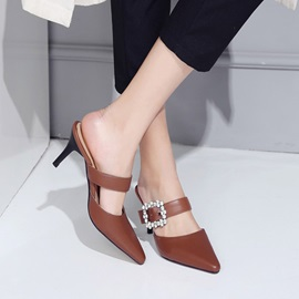 PU Pointed Toe Slip-On Mules