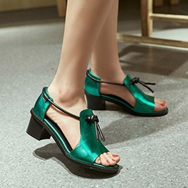 Solid Color PU Chunky Heel Sandals