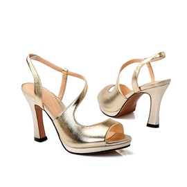 Elegant Metallic Peep-Toe Sandals