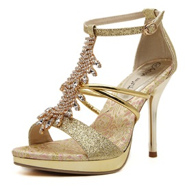 Sequins Rhinestone Stiletto Heel Sandals