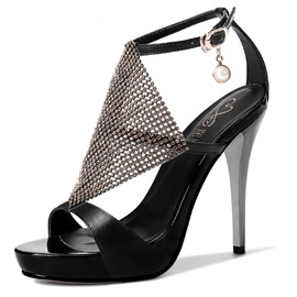 Rhinestone Open-Toe Ankle Strap Sandals