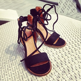 Suede Chunky Heel Lace-Up Sandals