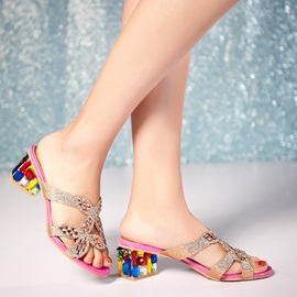Diamond & Rhinestone Chunky Heel Sandals