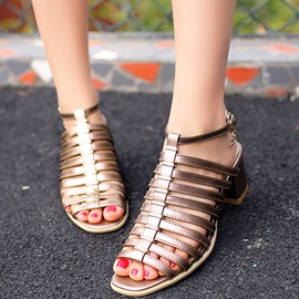 Solid Color Strappy Chunky Heel Sandals