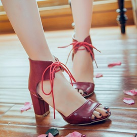 PU Lace-Up Chunky Heel Sandals