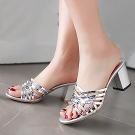Metallic PU Chunky Heel Sandals