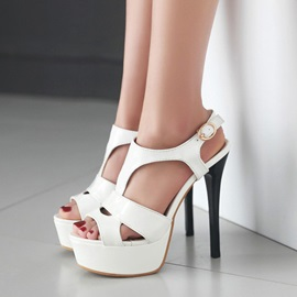 PU T-Strap Cut-Out Stiletto Heel Sandals