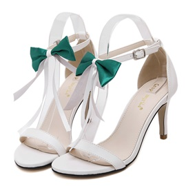 Bowknots PU Stiletto Heel Sandals