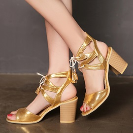 Sequins Chunky Heel Lace-Up Sandals
